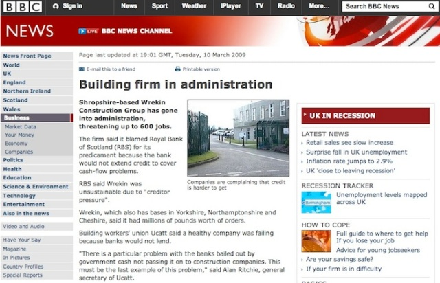 Wrekin construction going into administration came as a  shock to everyone who worked in the construction in dustry