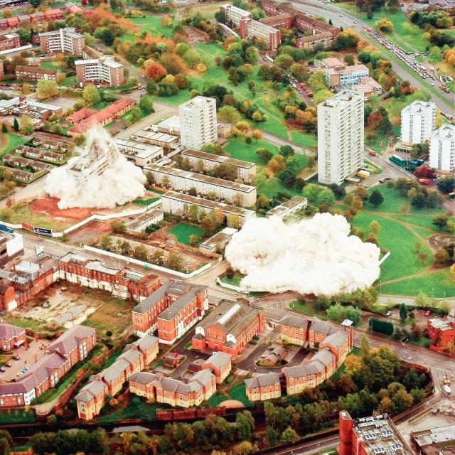 explosive demolition, Birmingham, England