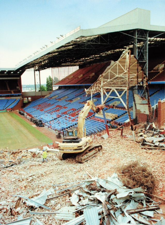 demolition of Aston Villa football stadium in Birmingham