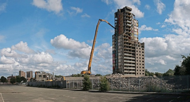 High Reach Demolition of Bloomloan Court Glasgow