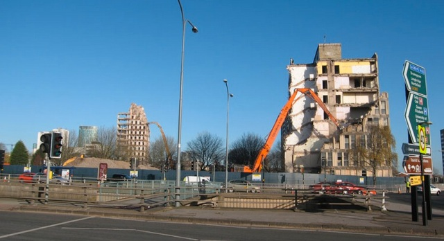 high reach demolition at Matthew Boulton College